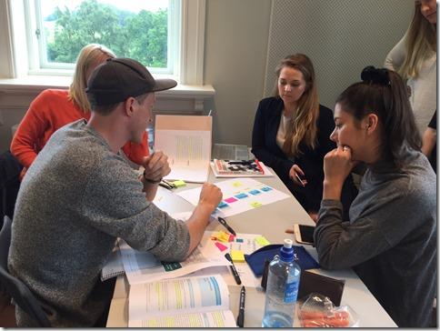 Group working on organization design problem at NMBU
